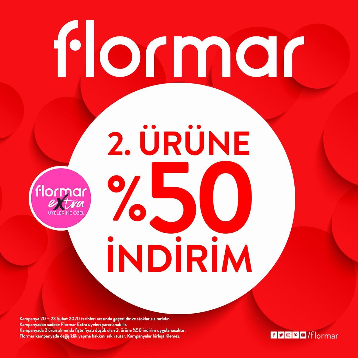 20-23 Şubat tarihleri arasında FLORMAR'da 2. ürüne %50 indirim fırsatı sizleri bekliyor!