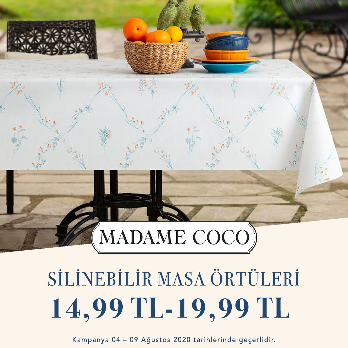 4-9 Ağustos tarihlerinde MADAME COCO'da silinebilir masa örtülerindeki fırsatları kaçırmayın!