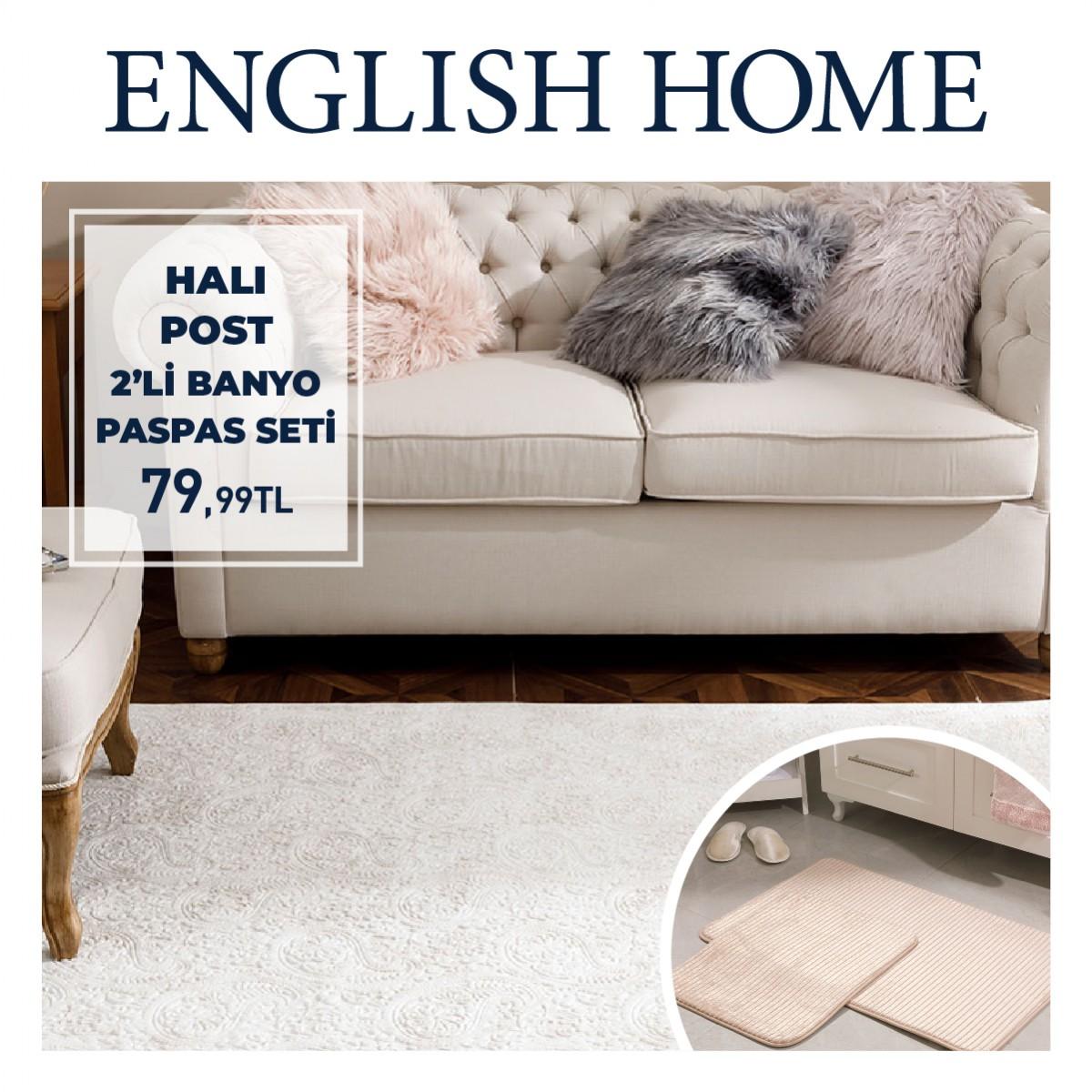 English Home'da 2'li banyo paspas seti sadece 79,99 TL!