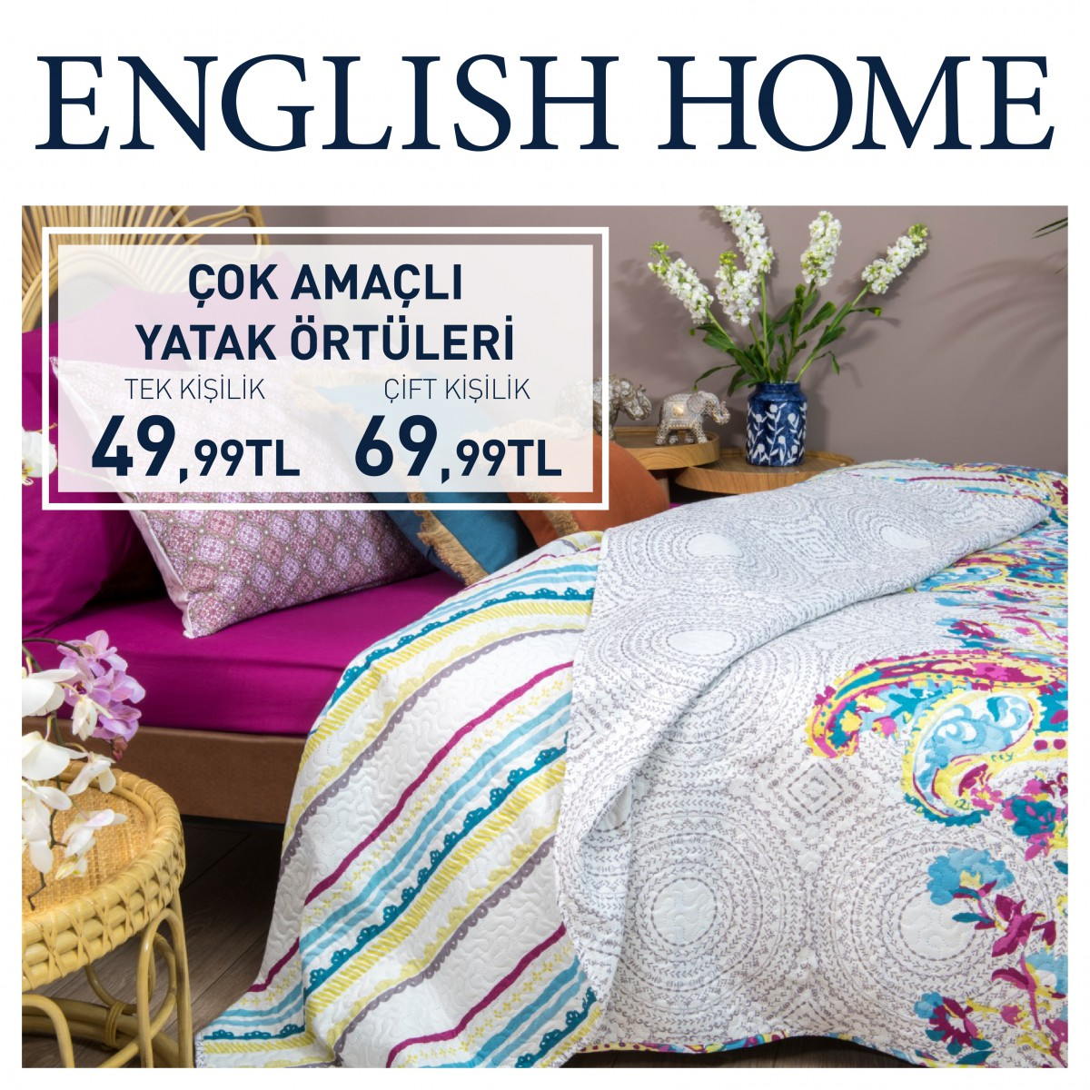 English Home'de çok amaçlı yatak örtülerindeki indirimler sizi bekliyor.