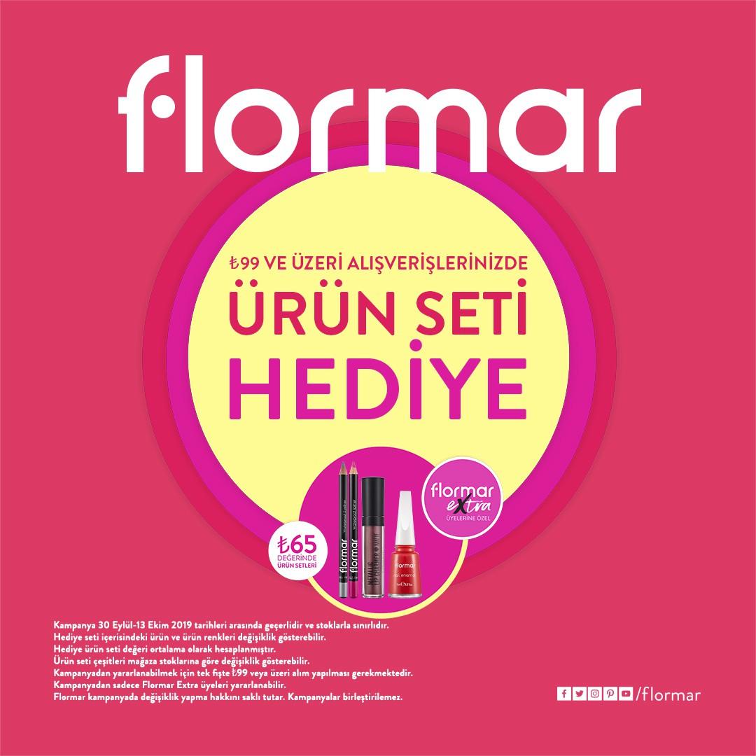 FLORMAR'da büyük kampanya 20 Ekim'e kadar devam ediyor! 99 TL ve üzeri alışverişlerinizde Flormar Extra üyelerine ürün seti hediye!