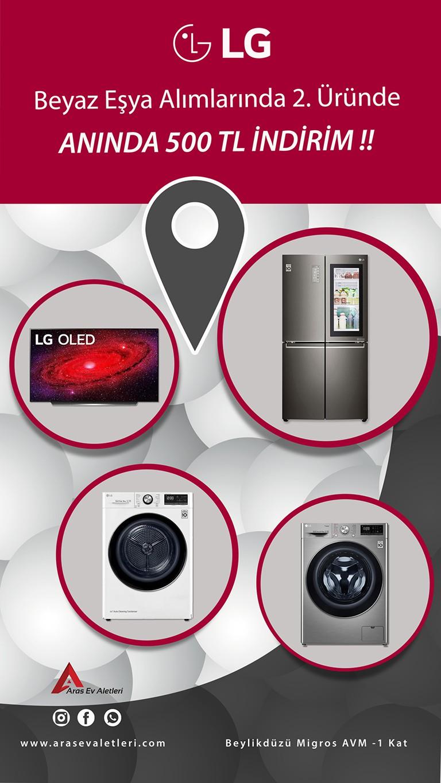 LG'de dev fırsat! Beyaz eşya alımlarında 2. üründe anında 500 TL indirim!