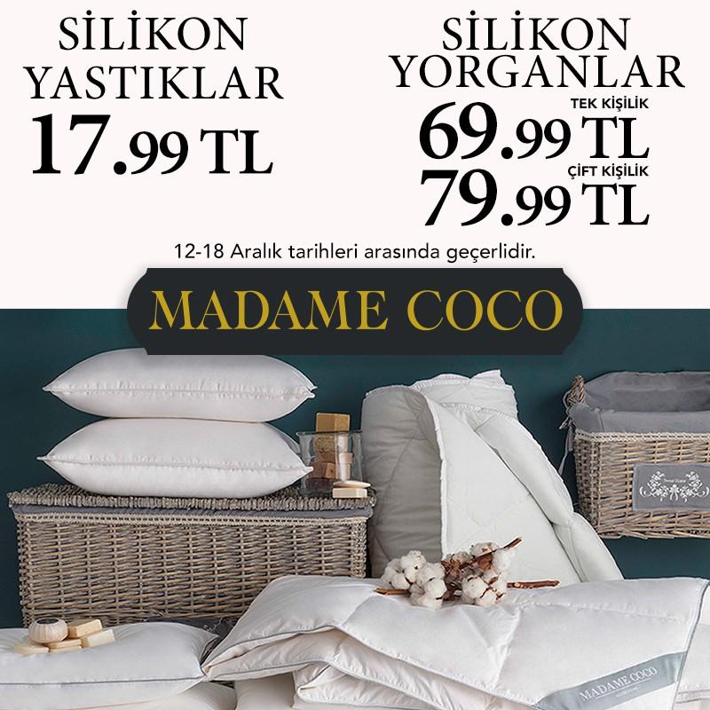 MADAME COCO'da 12-18 Aralık tarihlerinde silikon yastık ve yorganlarda muhteşem indirimler sizi bekliyor.