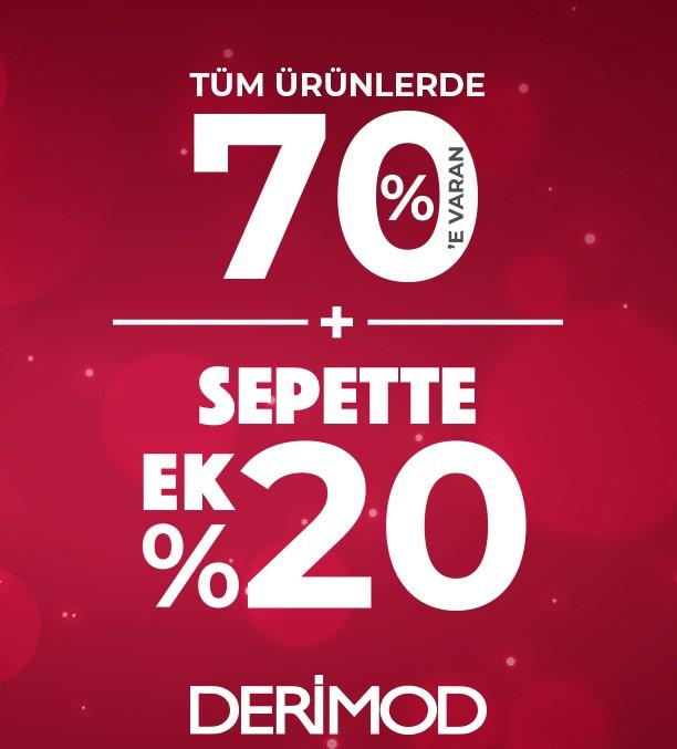 Tüm ürünlerde %70 'e varan + sepette ek olarak %20 indirim fırsatları şimdi Derimod'da.