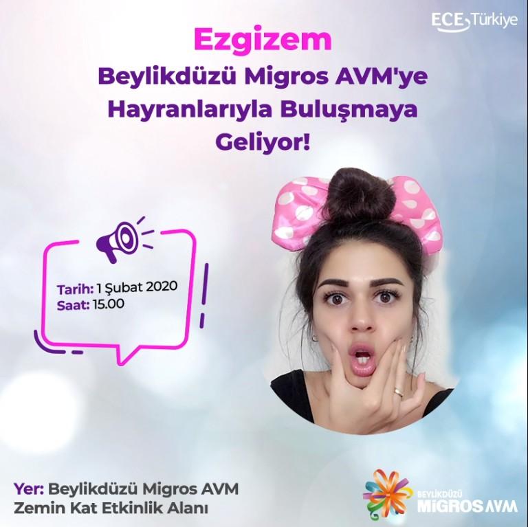 Ezgi Gizem 1 Şubat Cumartesi günü Beylikdüzü Migros AVM'ye hayranlarıyla buluşmaya geliyor! Bu eğlenceli buluşmayı kaçırmayın! #bmigrosavm