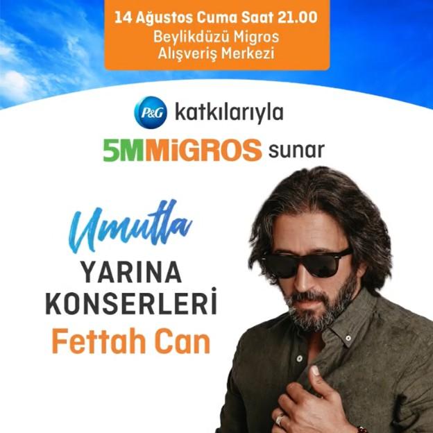 Umutla Yarına Konserleri başlıyor. 14 Ağustos Cuma günü katılımın kontenjanla sınırlı olduğu Fettah Can konserine davetlisiniz.